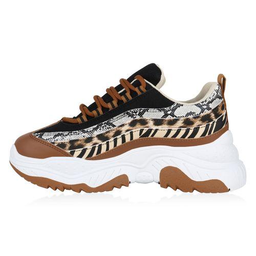 Damen Plateau Sneaker - Hellbraun Leo Snake