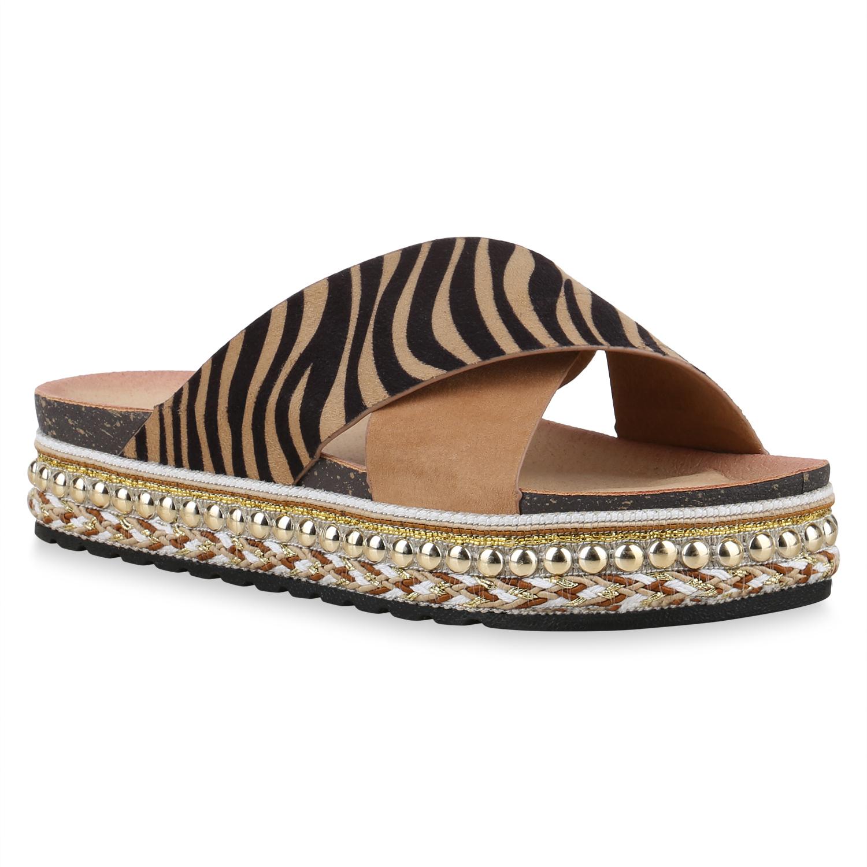 Damen Sandaletten Pantoletten - Hellbraun Zebra