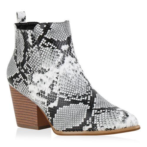 Damen Stiefeletten Cowboy Boots - Schwarz Weiß Snake
