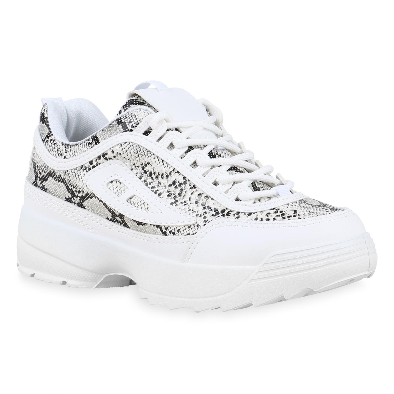 Damen Sneaker low - Weiß Schwarz Snake