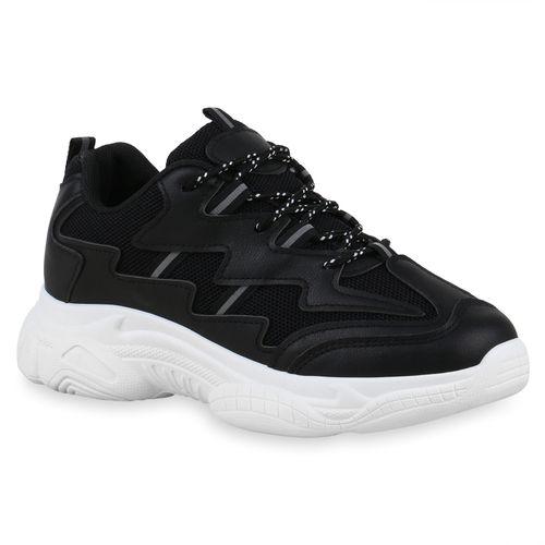 Damen Plateau Sneaker - Schwarz