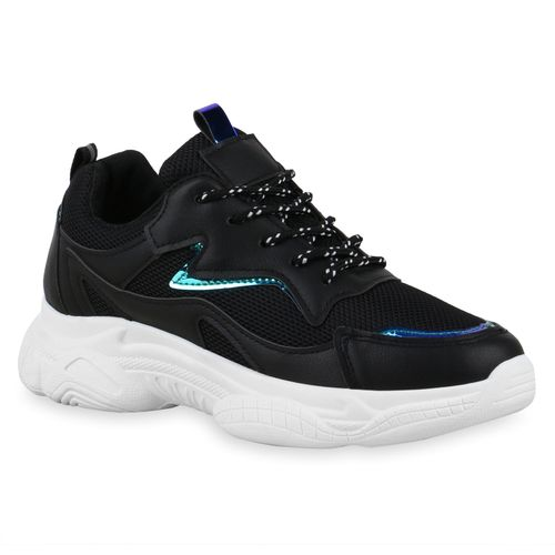 Damen Plateau Sneaker - Schwarz Blau Metallic