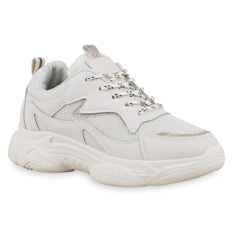 Damen Plateau Sneaker - Beige Gold