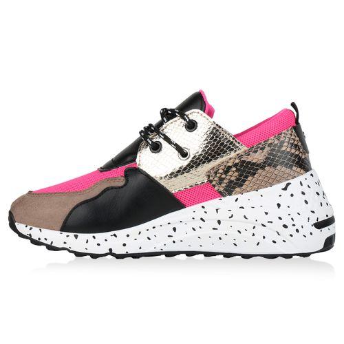 Damen Sneaker Wedges - Schwarz Fuchsia Snake