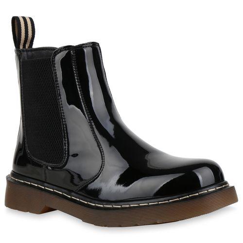 Chelsea Lack Schwarz Stiefeletten Boots Damen Rj4L35Aq