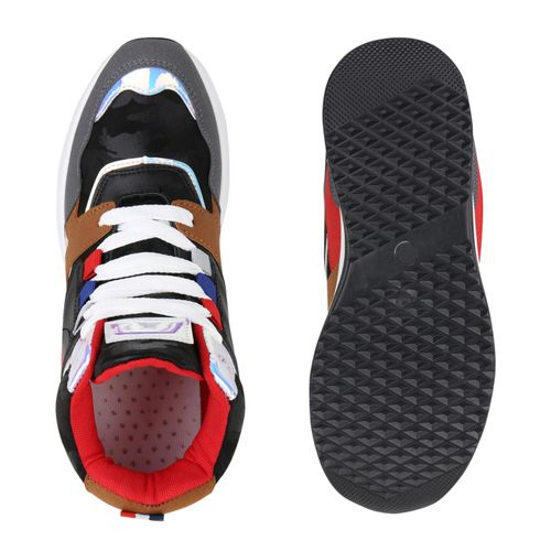 Damen Sneaker Wedges - Schwarz Rot Metallic