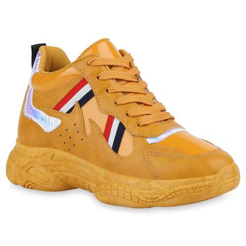 Damen Plateau Sneaker - Gelb Metallic