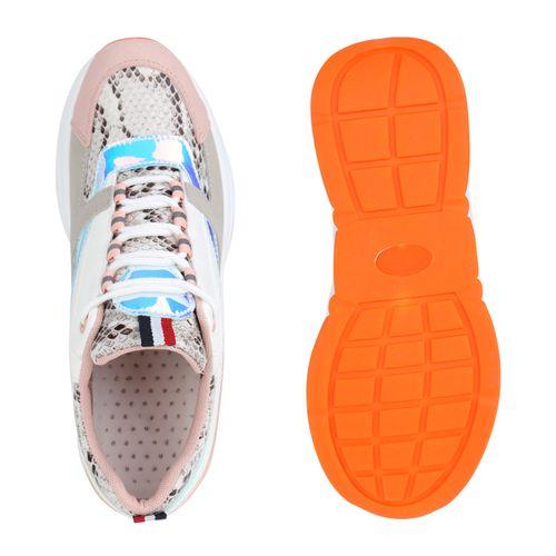 Damen Plateau Sneaker - Weiß Rosa Snake