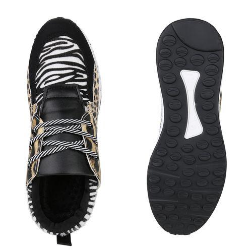 Damen Sneaker Wedges - Schwarz Leo Zebra