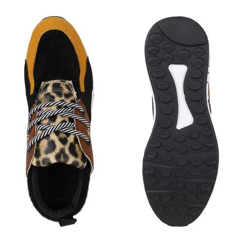 Damen Sneaker Wedges - Schwarz Leo Gelb