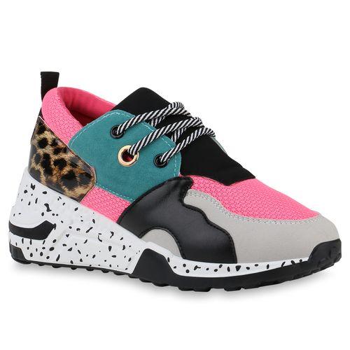 Damen Sneaker Wedges - Neon Pink Hellgrau Moosgrün