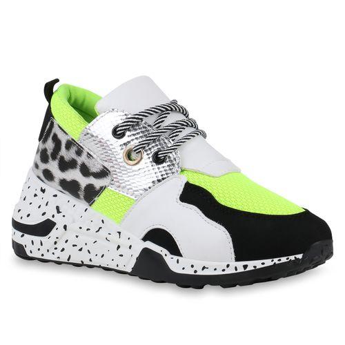 Damen Sneaker Wedges - Neon Grün Leo Schwarz