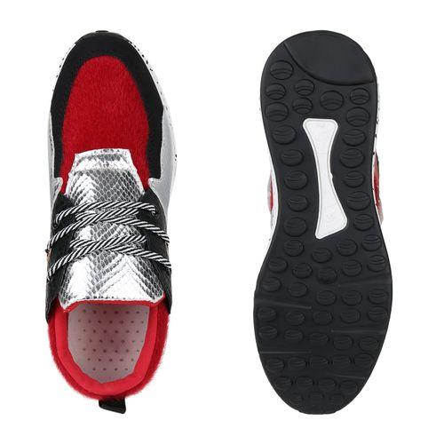 Damen Sneaker Wedges - Dunkelrot Silber Schwarz