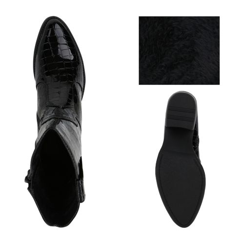 Damen Stiefeletten Cowboy Boots - Schwarz Kroko