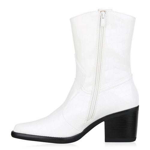 Damen Stiefeletten Cowboy Boots - Weiß Kroko