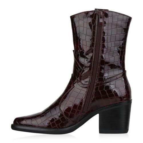 Damen Stiefeletten Cowboy Boots - Burgund Kroko