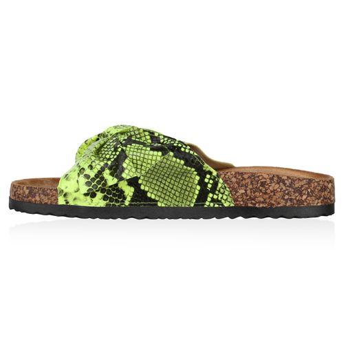 Damen Sandalen Pantoletten - Neon Grün Snake