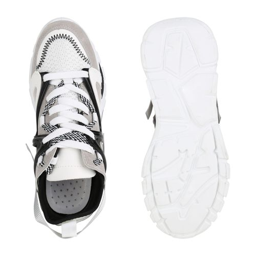 Damen Plateau Sneaker - Schwarz Weiß Hellgrau