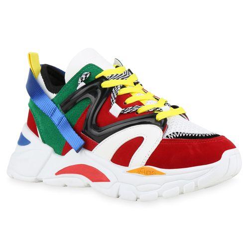 Damen Plateau Sneaker - Rot Grün Weiß