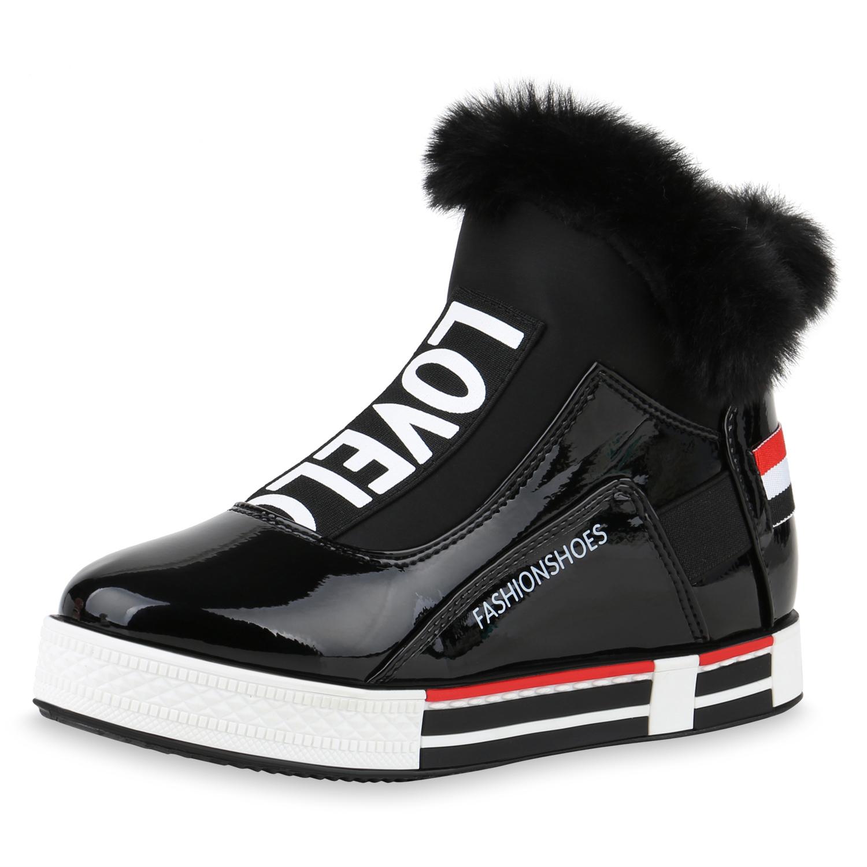 Sneakers für Frauen - Damen Plateau Sneaker Schwarz › stiefelpardies.de  - Onlineshop Stiefelparadies
