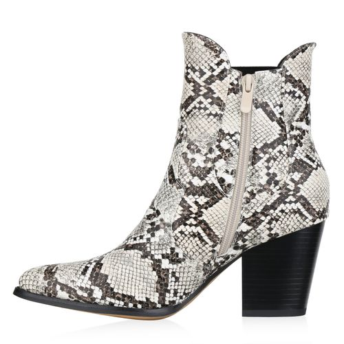 Damen Stiefeletten Cowboy Boots - Hellbraun Beige Snake