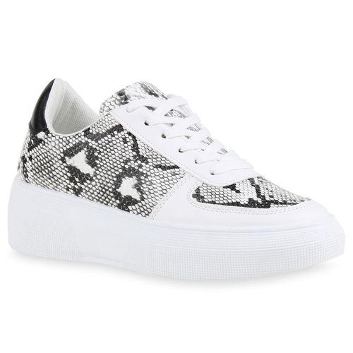 Damen Plateau Sneaker - Schwarz Weiß Snake
