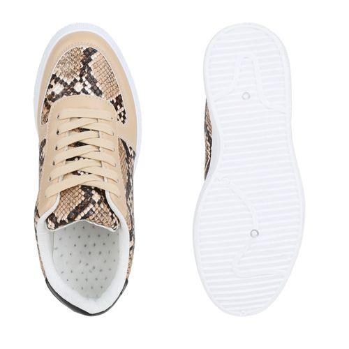 Damen Plateau Sneaker - Beige Hellbraun Snake