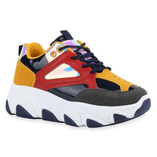 Damen Plateau Sneaker - Dunkelblau Gelb Rot