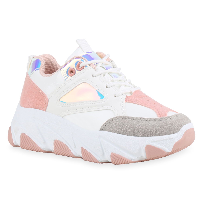 Damen Plateau Sneaker - Weiß Rosa Hellgrau