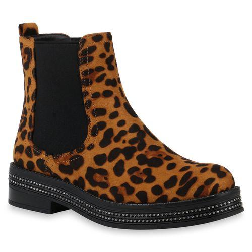 best website 04159 0fd04 Damen Stiefeletten Chelsea Boots - Hellbraun Schwarz Leo