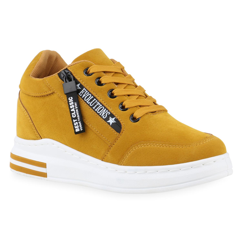 Sneakers für Frauen - Damen Plateau Sneaker Hellorange › stiefelpardies.de  - Onlineshop Stiefelparadies