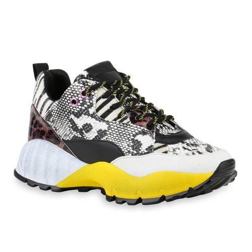 Damen Plateau Sneaker - Snake Zebra Gelb