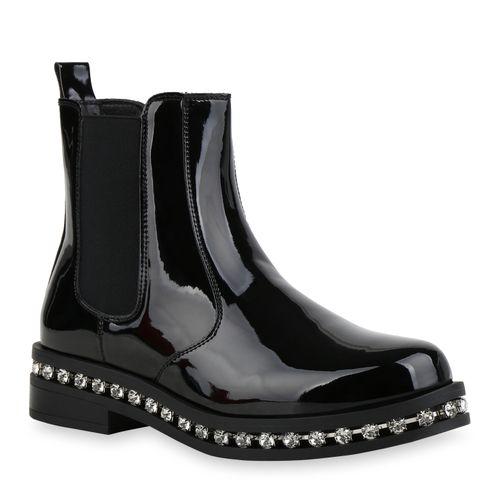 Damen Stiefeletten Chelsea Boots - Schwarz Lack