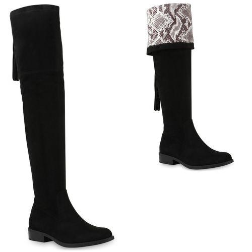 Damen Stiefel Overknees - Schwarz Weiß Snake