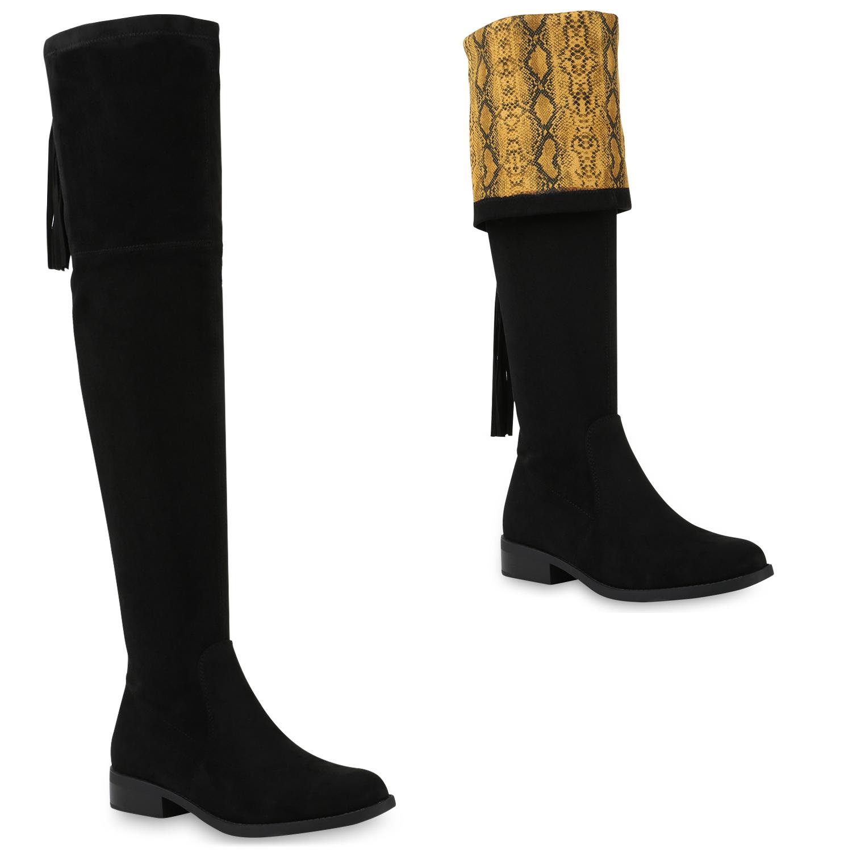 Damen Stiefel Overknees - Schwarz Snake Gelb