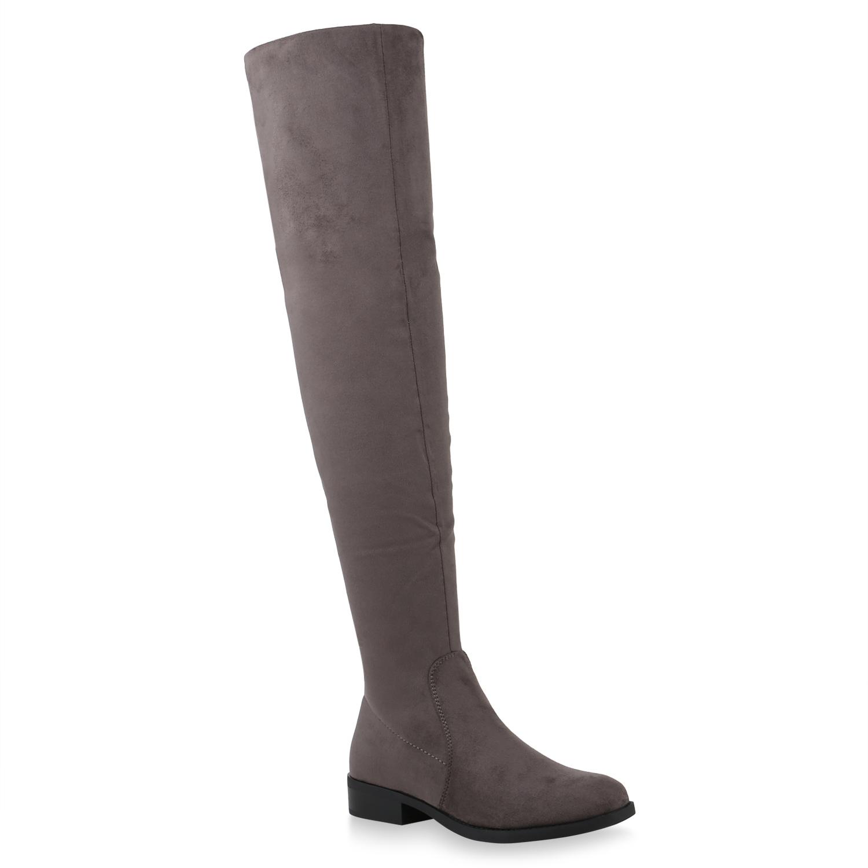 Stiefel - Damen Stiefel Overknees Grau › stiefelparadies.de  - Onlineshop Stiefelparadies