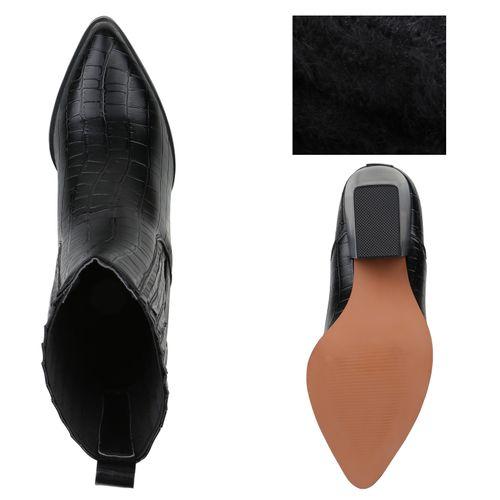 Damen Stiefeletten Cowboy Boots Schwarz Kroko