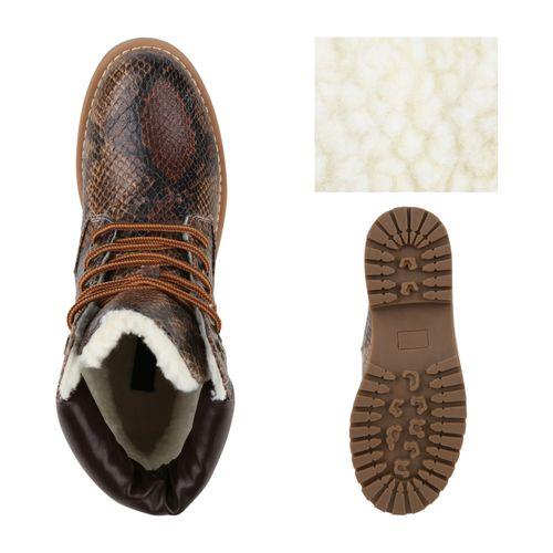 Damen Stiefeletten Worker Boots - Braun Hellbraun Snake