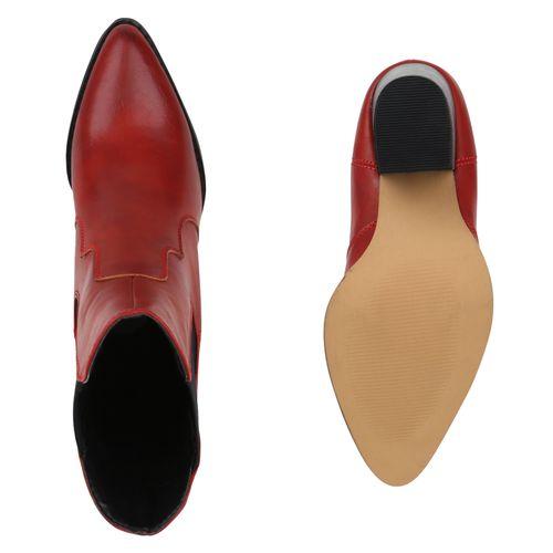 Damen Stiefeletten Cowboy Boots - Rot