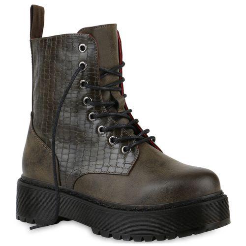 Damen Stiefeletten Plateau Boots - Olivgrün Kroko