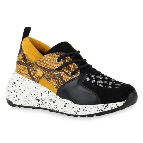 Damen Sneaker Wedges - Schwarz Gelb Snake