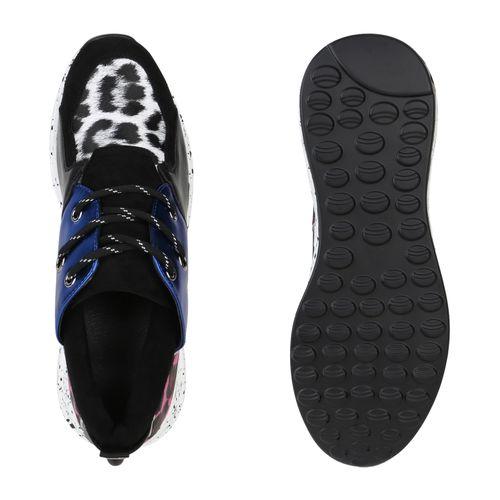 Damen Sneaker Wedges - Blau Fuchsia Leo 96421549