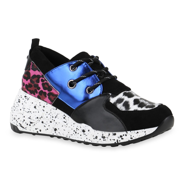 Sneakers - Damen Sneaker Wedges Blau Fuchsia Leo › stiefelparadies.de  - Onlineshop Stiefelparadies