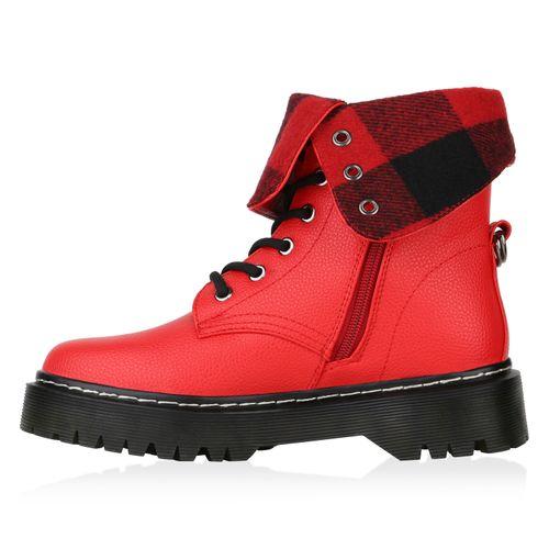 Damen Stiefeletten Worker Boots - Rot Muster