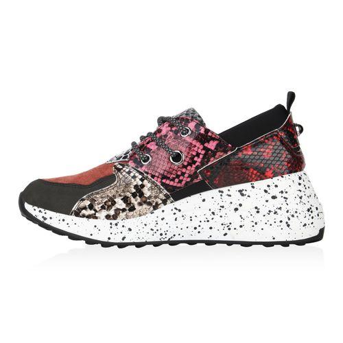 Damen Sneaker Wedges - Rot Pink Snake