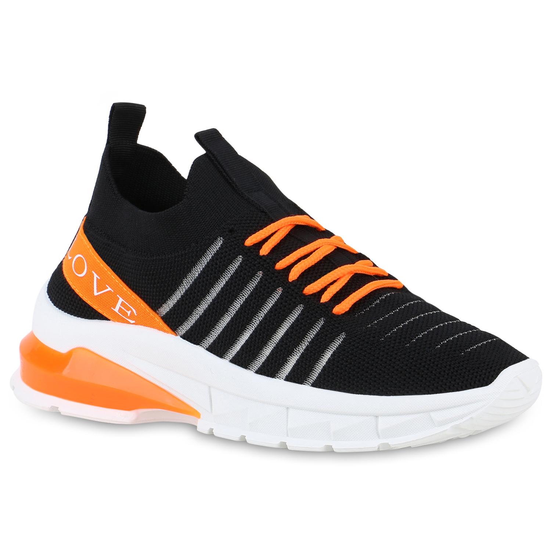 Sneakers - Damen Plateau Sneaker Schwarz Neon Orange › stiefelparadies.de  - Onlineshop Stiefelparadies
