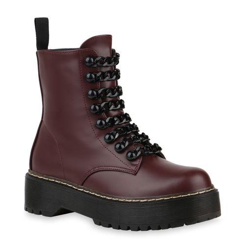 Damen Stiefeletten Plateau Boots - Burgund