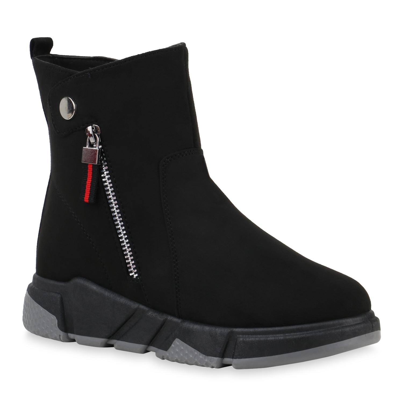 Damen Sneakerstiefel - Schwarz