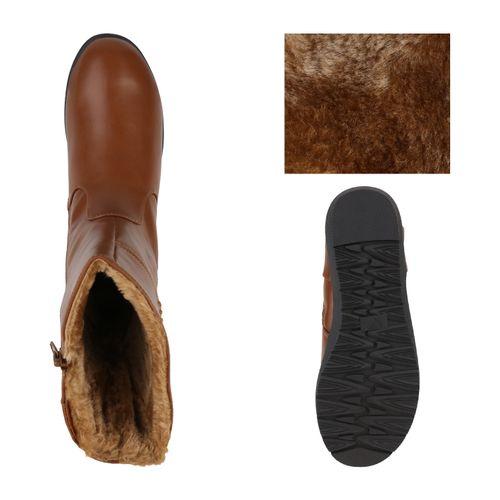 Damen Stiefel Keilstiefel - Hellbraun