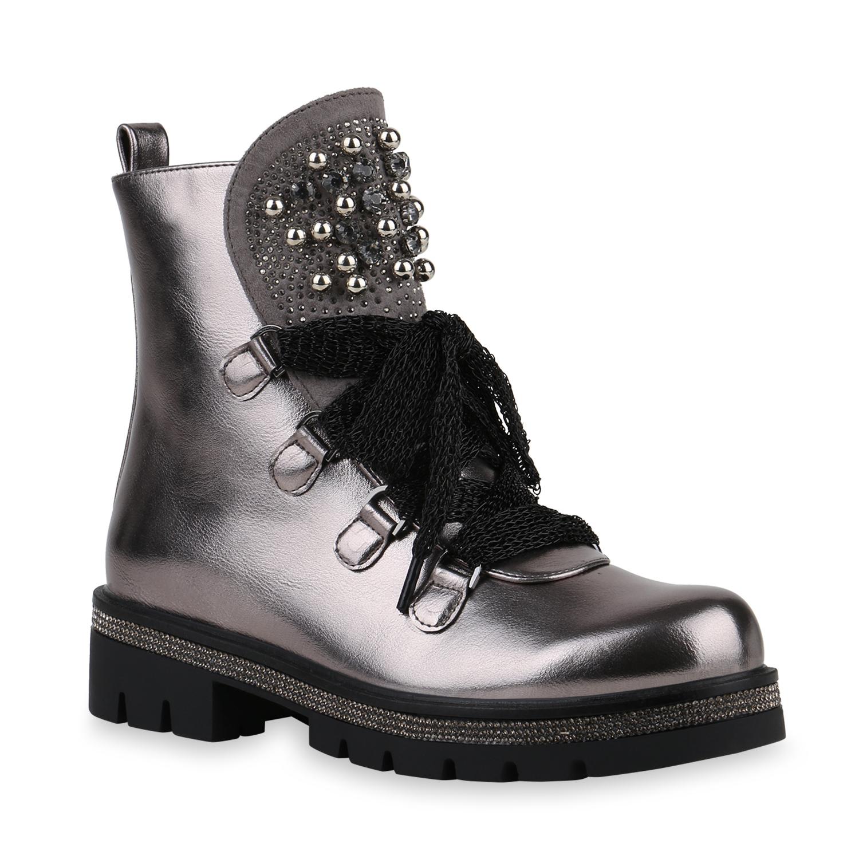 Stiefel - Damen Stiefeletten Plateau Boots Grau Metallic › stiefelparadies.de  - Onlineshop Stiefelparadies